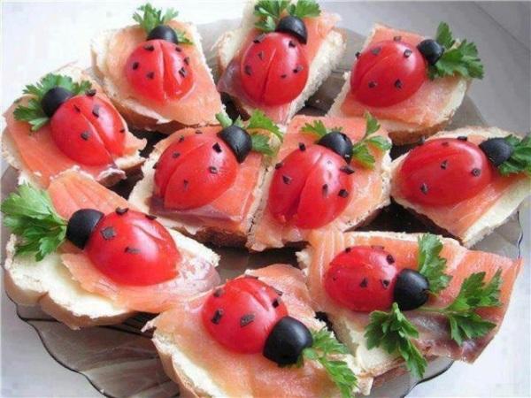 ladybug canapes